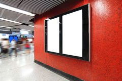Blank Billboard in metro subway station Royalty Free Stock Photography