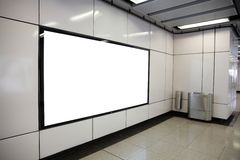 Blank Billboard in metro subway station Royalty Free Stock Images