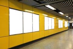 Blank Billboard in metro subway station Royalty Free Stock Photos