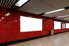 Blank Billboard in metro subway station Stock Image
