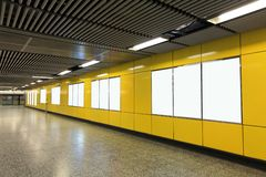 Blank Billboard in metro subway station Stock Photography