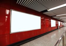 Blank Billboard in metro subway station Royalty Free Stock Photo