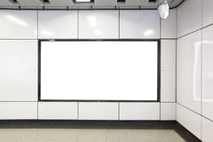 Blank Billboard in metro subway station Stock Images