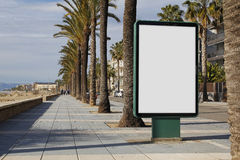 Blank billboard in the street. Blank billboard mock up in the street, next to the sea stock image
