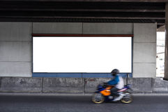Blank Billboard with Motorcycle Stock Image