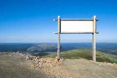 Blank billboard in the mountains. Finland,Lapland Stock Images
