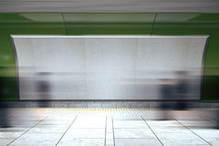 Blank billboard and moving people in subway. Mock up stock photography