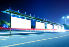 Blank billboard at night Royalty Free Stock Photos