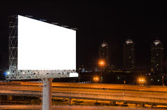 Blank billboard at night for advertisement Stock Image