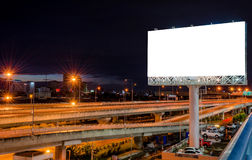 Blank billboard at night for advertisement.  Royalty Free Stock Photography