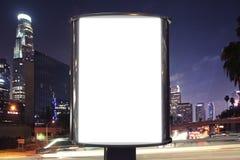Blank billboard on night street Royalty Free Stock Photography