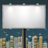 Blank billboard at night time Royalty Free Stock Images