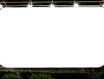 Blank billboard in night time. stock images