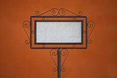 Blank billboard on orange background Royalty Free Stock Photography