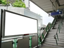 Blank billboard outdoors, public information board on Skytrain station - Advertising concept stock photos