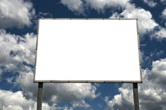 Blank billboard over cloudy sky Royalty Free Stock Images