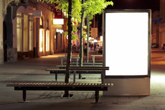 Blank billboard panel at night Royalty Free Stock Photos