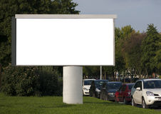Blank Billboard. With parked cars stock photos