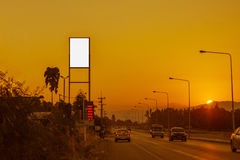 Blank billboard on Petrol station and Gas station at sunset with Royalty Free Stock Photo