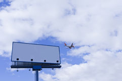 Blank billboard. Plane Royalty Free Stock Photography