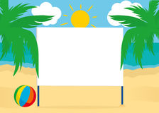 Blank billboard poster blank on a beach background with palm trees. For your text or advertising. Free place. Vector. Ball Royalty Free Stock Images