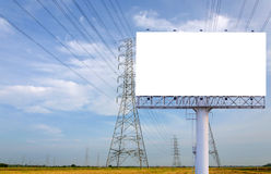 Blank billboard ready for new advertisement in High voltage Powe Royalty Free Stock Photo