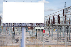 Blank billboard ready for new advertisement in High voltage Powe Stock Photography