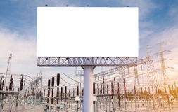 Blank billboard ready for new advertisement in High voltage Powe Royalty Free Stock Photography
