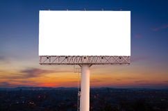 Blank billboard ready for new advertisement with sunset backgrou Royalty Free Stock Photography