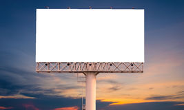 Blank billboard ready for new advertisement with sunset backgrou Stock Image