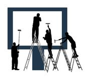 Blank billboard ready to use for advertisement. Marketing street media. Billboard workers painter with paint brush on ladders. stock illustration