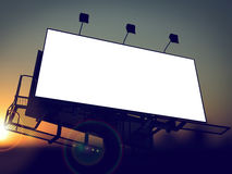 Blank Billboard on the Rising Sun Background. Blank Billboard on the Rising Sun Background for Your Advertisement royalty free stock image