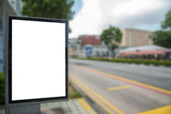 Blank billboard on road/effect blurred background. Blank billboard on road/effect blurred background Royalty Free Stock Photography