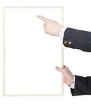 Blank billboard in salesman hand Stock Images