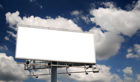 Blank Billboard. Screen in front of beautiful cloudy sky royalty free stock photos