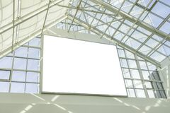 Blank billboard signboard in the top of open shopping mall area royalty free stock photos