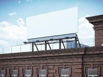 Blank billboard standing on brick building. 3d rendering Royalty Free Stock Photos