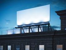 Blank billboard standing on classic brick building. 3d rendering Stock Image
