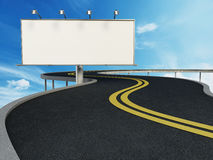 Blank billboard standing next to highway. 3D illustration.  Stock Images
