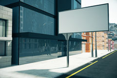 Blank billboard on the street near business center, mock up, 3D. Render Royalty Free Stock Photos