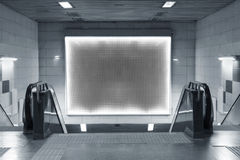 Blank billboard in subway Stock Images