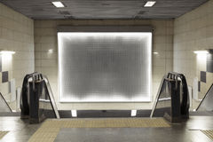 Blank billboard in subway stock image