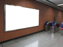Blank billboard in subway station Royalty Free Stock Photography