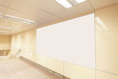 Blank billboard in subway station Royalty Free Stock Photo