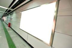 Blank billboard in subway. Underground passage Stock Photo