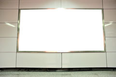 Blank billboard in subway Stock Image