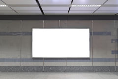 Blank billboard in subway. Useful for your advertising. Stock Images
