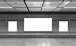 Blank billboard in subway. Useful for your advertising. Stock Photos