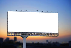 Blank billboard at twilight for advertisement Stock Images