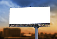 Blank billboard at twilight for advertisement Royalty Free Stock Images